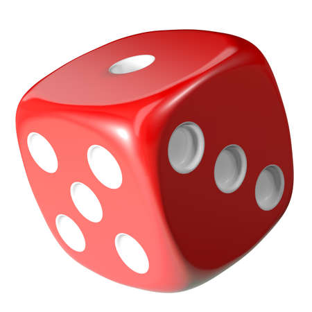 odds: Red dice isolated on white background. 3d illustration