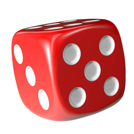 wagers: Red dice on white background. 3d rendering