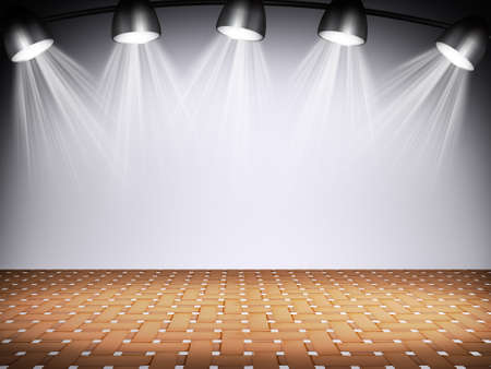 dramatics: Illuminated empty white concert stage with soffits. 3D illustration Stock Photo