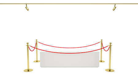 exhibit: Empty showcase with tiled stand barriers for exhibit. Isolated white background. 3D illustration