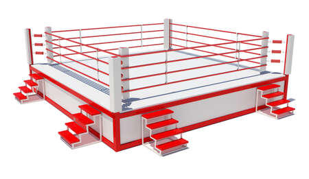 boxing ring: Boxing ring isolated on white background. 3D rendering