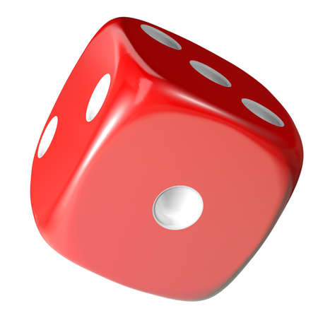 probability: Red dice on white background. 3d rendering