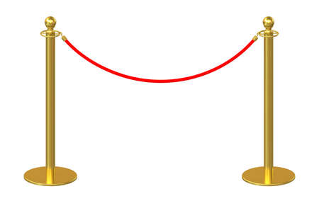 stanchion: Golden fence, stanchion with red barrier rope, isolated on white background. 3d rendering