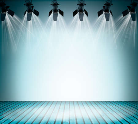 dramatics: Illuminated empty blue concert stage with soffits. 3D illustration