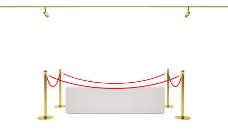 expansive: Empty showcase with tiled stand barriers for exhibit. Isolated white background. 3D illustration
