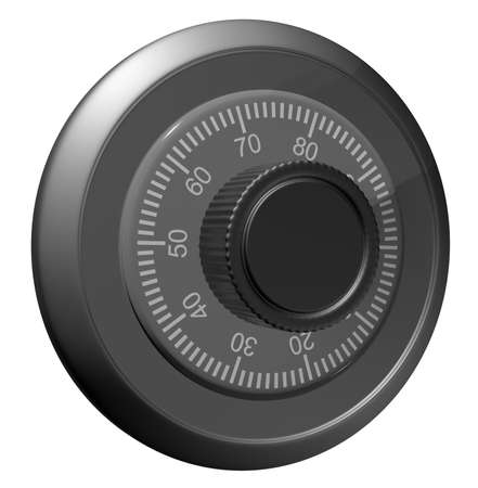 combination lock: Safe combination lock. Knob with figures. Isolated on white. 3D illustration Stock Photo