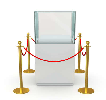 velvet rope barrier: Empty glass showcase for exhibit with barrier rope. 3D illustration Stock Photo