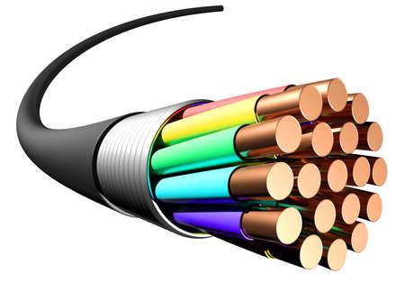 Elektrische Kabel auf weißem Hintergrund. Nahansicht. 3D-Rendering Standard-Bild - 59692386