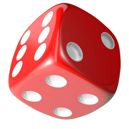 hits: Red dice isolated on white background. 3d illustration