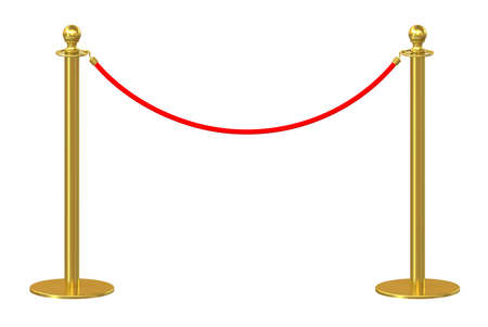 velvet rope barrier: Barrier rope isolated on white background. 3d illustration Stock Photo