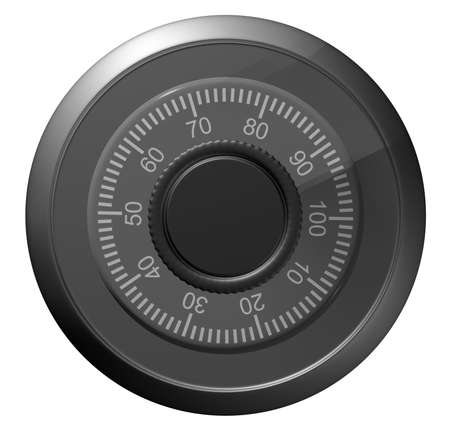 turn dial: Safe combination lock. Knob with figures. Isolated on white. 3D illustration Stock Photo