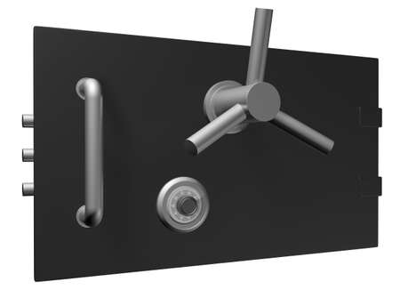 Black safe door. 3D Illustration on white background for design