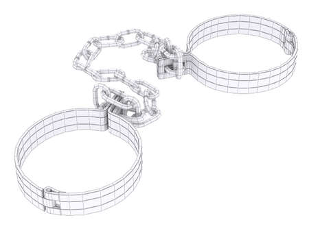 shackle: Wire-frame white shackles isolated on white. 3d rendering