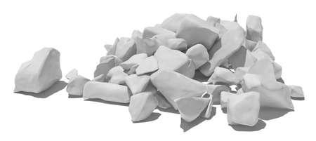 detritus: Pile of white stone isolated on white background. 3D illustration