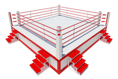 defeated: Boxing ring isolated on white background. 3D rendering