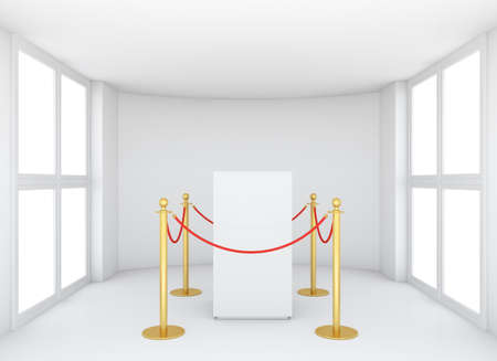 Empty showcase with tiled stand barriers for exhibit. Isolated on white background. 3D rendering Stock Photo
