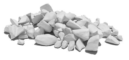 white stone: Pile of white stone isolated on white background. 3D illustration