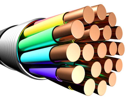 conductivity: Electrical cable on white background. Close-up. 3D rendering Stock Photo