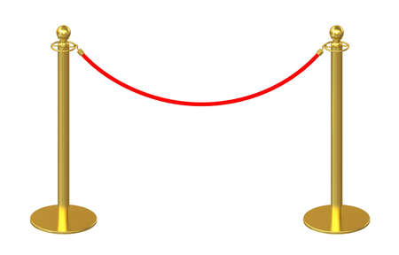 barrier rope: Golden fence, stanchion with red barrier rope, isolated on white background. 3d rendering