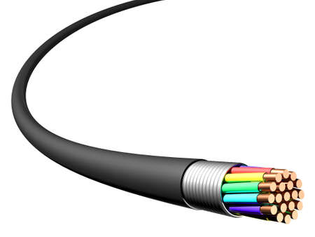 amperage: Electrical cable on white background. Close-up. 3D rendering Stock Photo