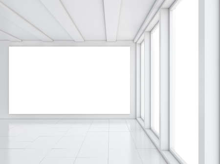 gallery interior: Empty gallery interior with light windows. 3D illustration