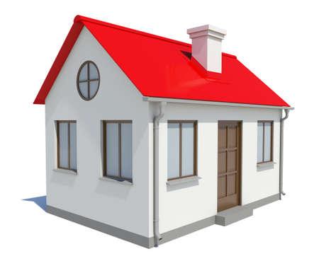 Petite maison avec toit rouge sur fond blanc, illustration 3D