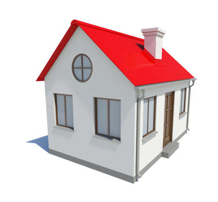 small roof: Small house with red roof on white background, 3D illustration Stock Photo