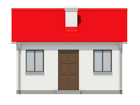 small roof: Small house with red roof on white background. Front View. 3D illustration Stock Photo