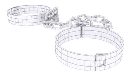 shackled: Wire-frame white shackles isolated on white. 3d rendering
