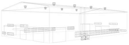 storage facility: Wire-frame industrial building on the white background. Vector Illustration