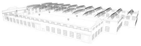Wire-frame industrial building on the white background. Vector Illustration
