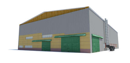 isolated: Hangar building. Isolated on white, 3D Illustration Stock Photo