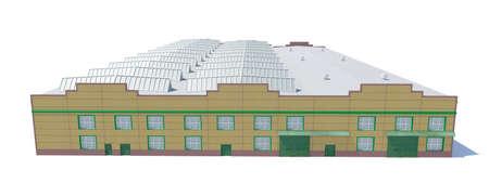 hangar: Hangar building. Isolated on white, 3D Illustration Stock Photo