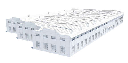 storehouse: Hangar building. White wire-frame. Isolated on white, 3D Illustration Stock Photo