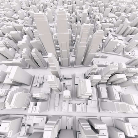 aerial view: White modern city, aerial view. 3D rendering