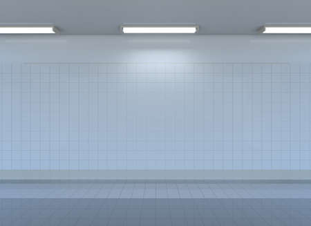 space station: Empty metro station interior with tile wall, floor and lamps. 3D rendering