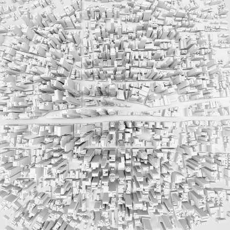 흰색 현대 도시, 공중보기. 3D 렌더링