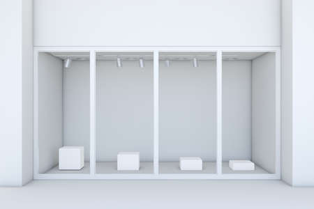 boutique display: Shopfront with large windows. White store facade. 3d rendering
