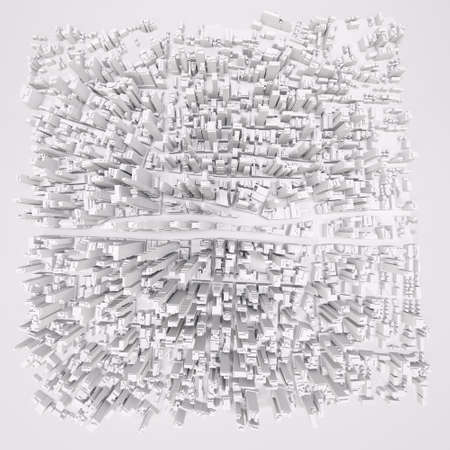 White modern city, aerial view. 3D rendering Stock fotó - 64291414