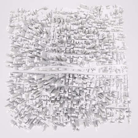 Witte moderne stad, vanuit de lucht bekijken. 3D-rendering