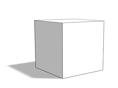tuned: Blank white box on white background with shadow. 3D rendering