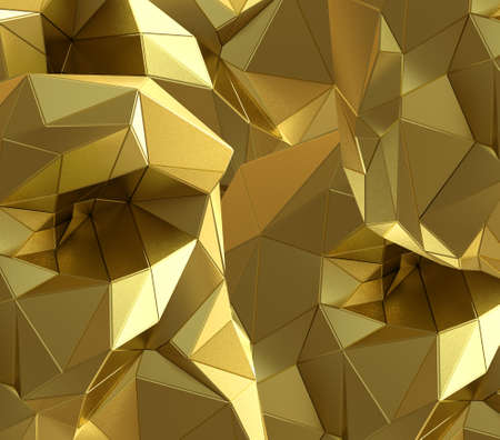 metallic texture: Luxury gold abstract triangle background. 3D rendering