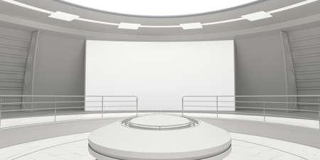 futuristic: Empty modern futuristic room with white panel. 3D rendering Stock Photo