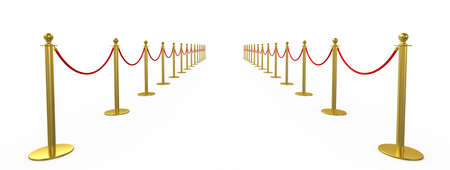 exposición: valla de oro, puntal con la cuerda barrera roja, aislado en fondo blanco. Las 3D Foto de archivo