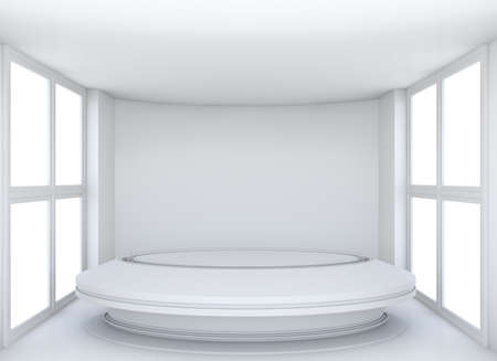 exhibit: Empty showroom with circle table for exhibit. White background. 3D rendering