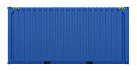 3d rendering of blue shipping container. Side view. Isolated on white