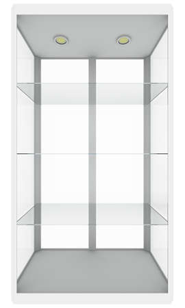 exposition: Empty glass showcase. Isolated on white. 3D illustration Stock Photo