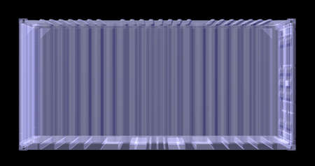 work crate: X-ray shipping container isolated on black. 3D rednering