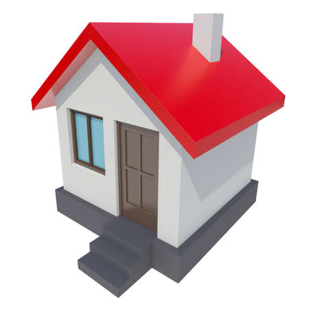 red roof: Small house with red roof on white background. 3D rendering