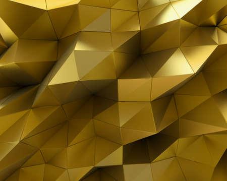 perspectiva lineal: superficie de oro abstracto. Fondo futurista con formas poli baja. representación 3D